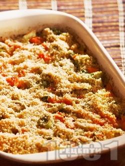 Печен ориз с моркови, праз и сирене пармезан на фурна - снимка на рецептата